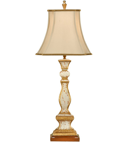 Wildwood Lamps Old Worn Column Table Lamp in Antiqued Old White With Gold 8888 photo