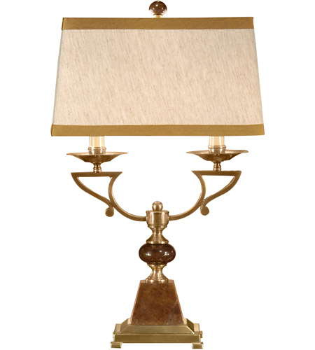 Wildwood Lamps 9213 Marble 30 inch 60 watt Antique Brass Table Lamp Portable Light photo