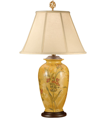 Wildwood Lamps Flowers On Yellow Table Lamp in Hand Painted Porcelain With Wood 9242 photo