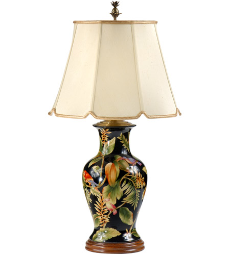 Wildwood Lamps Tropical Birds Table Lamp In Hand Painted
