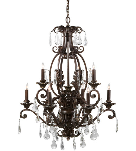 Wildwood Lamps Signature Chandelier in Iron With Crystal Drops 9357 photo