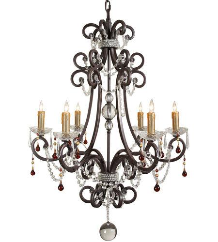 Wildwood Lamps Signature Chandelier in Iron With Crystal Bobesche And Roping 9361 photo