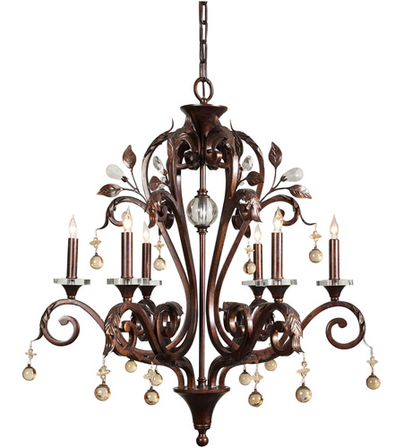 Wildwood Lamps Signature Chandelier in Antique Finish Iron With Crystal 9362 photo