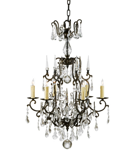 Wildwood Lamps 9380 Signature 6 Light 24 inch Bronzed Iron With Crystal Drops Chandelier Ceiling Light photo