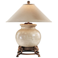 Urn 27 inch 60 watt Antique Crackle Porcelain And Wrought Iron Table Lamp Portable Light