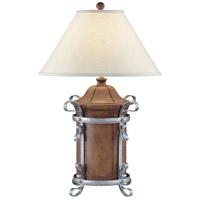 Wildwood Lamps Leather Urn Table Lamp in Hand Decorated With Glazed Wrought Iron 11146
