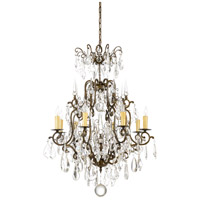 Signature 8 Light 28 inch Old Gold On Iron With Crystal Chandelier Ceiling Light