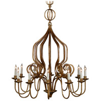 Iron 10 Light 31 inch Old Gold Chandelier Ceiling Light