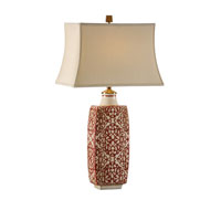 Wildwood Lamps Discovery Hand Painted Pattern Embroidered Bottle Lamp - Crackle Earthenware Ceramic 12508