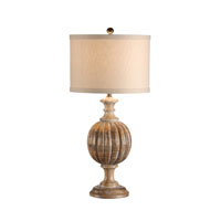 Wildwood Lamps Discovery Hand Carved Wood Ribs Of Wood Lamp - Whitewash Finish 12518