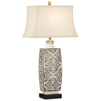Discovery 35 inch 100 watt Ceramic Base-Dark Wood Table Lamp Portable Light