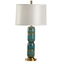 Wildwood Lamps 13158 Aquafina 33 inch 100 watt Sea Glass and Antique Brass Table Lamp Portable Light