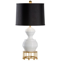 Mount Vernon 30 inch 100 watt White Ceramic With Gold Leaf Table Lamp Portable Light