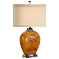 Wildwood Lamps Carved Palm Table Lamp in Hand Carved And Finished Honey Oak 15635
