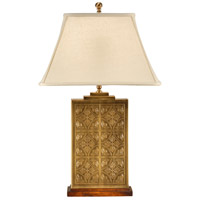 Tea Box 30 inch 100 watt Laser Etched Brass Table Lamp Portable Light