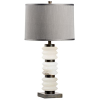 Sani 30 inch 100 watt Alabaster and Iron Table Lamp Portable Light