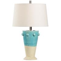 Wildwood 17196 Vietri 27 inch 100 watt Aqua/Cream Glaze Table Lamp Portable Light
