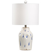 Wildwood 17202 Dimples 27 inch 100 watt Aged Cream and Cobalt Glaze Table Lamp Portable Light, Large