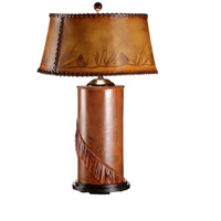Wildwood Lamps Pine Cones Fall Table Lamp in Hand Tooled Leather On Wood 21006