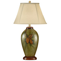 Wildwood Lamps Pine Cones With Straw Table Lamp in Hand Painted Porcelain 21184