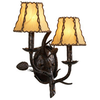 High Country 2 Light 14 inch Old Bronzeon Iron Sconce Wall Light