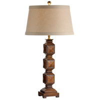 Wildwood Lamps Stacked Cubes Table Lamp in Medium Distressed Walnut Finish 21228