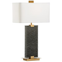 Stonehenge 32 inch 100 watt Matte Black and Antique Brass Table Lamp Portable Light