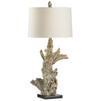 Riverwood 35 inch 100 watt White Washed Driftwood and Black Table Lamp Portable Light