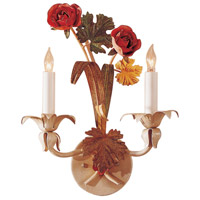 Spring Roses 2 Light 11 inch Hand Colored Wrought Iron Sconce Wall Light