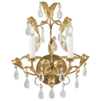 Wildwood Lamps Gold And Crystal Sconce in Metal Leaf on Iron 2214 photo thumbnail