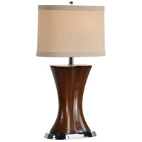 Wildwood Lamps Slim Waisted Table Lamp in Medium Walnut Finish On Carved Wood 22283