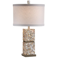 Wildwood Lamps Shell Inlay Coulmn Table Lamp in Brushed Chrome Accents 22355