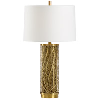 Wildwood 22466 Congo 31 inch 100 watt Antique Brass and Mushroom Table Lamp Portable Light
