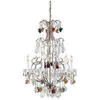 Crystal 6 Light 20 inch Hand Formed Bronze With Lead Crystal Chandelier Ceiling Light
