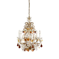 Crystal 6 Light Lead Crystal With French Gold Frame Chandelier Ceiling Light