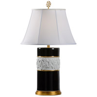 Circa 33 inch 100 watt Black and White Glaze Table Lamp Portable Light