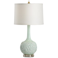 Wildwood 23333 Biltmore 30 inch 100 watt Mint Green and Antique Silver Leaf Table Lamp Portable Light