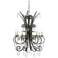 Wildwood 23348 Grand Stairs 8 Light 30 inch Iron and Crystal Chandelier Ceiling Light
