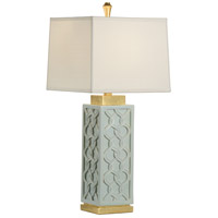 Portico 32 inch 100 watt Mint and Antique Gold Leaf Table Lamp Portable Light