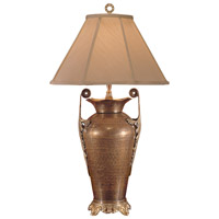 Wildwood Lamps Handled Vase Table Lamp in Antique Patina On Hand Hammered Brass 2377 photo thumbnail