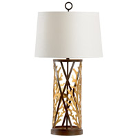 Santibol Lantern 33 inch 100 watt Rust and Gold Leaf Table Lamp Portable Light