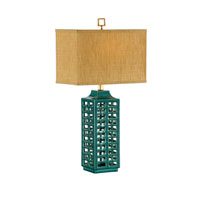 Wildwood Lamps Studio W Hand Created Cutout Porcelain Khai Lamp - Turquoise  Finish Old Black Mounting 26081-2