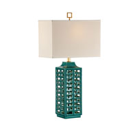 Wildwood Lamps Studio W Hand Created Cutout Porcelain Khai Lamp - Turquoise Finish Old Black Mounting 26081