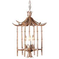 Bamboo 3 Light 12 inch Art Glaze Wrought Iron Lantern Ceiling Light