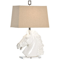 Italia 30 inch 100 watt Glazed White Clay Table Lamp Portable Light