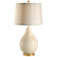 Wildwood Lamps Italia 1 Light Capri Lamp - White Hand Made And Glazed Table Lamp in Aged Gold Leaf 27539