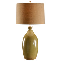 Wildwood Lamps Italia 1 Light Levanto Lamp Green Hand Thrown And Textured Table Lamp in Green Glaze 27544