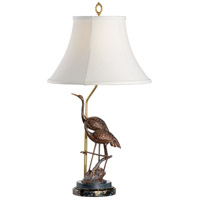 Steppin Cranes 28 inch 100 watt Combined Patinas On Cast Brass Table Lamp Portable Light