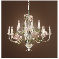 Wildwood Lamps Hydrangia Blossoms Chandelier in Hand Decorated Wrought Iron 2849