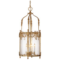 Lantern 4 Light 15 inch French Gold On Solid Brass Lantern Ceiling Light
